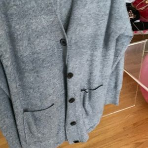 THEORY CASHMERE GRANDPA GREY CARDIGAN